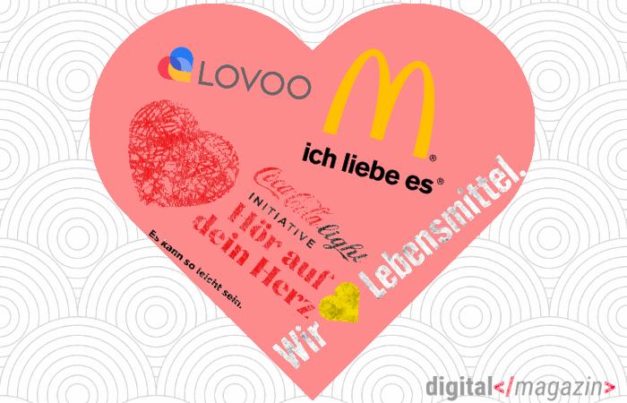 Marken-Logos mit Herz-Symbolik