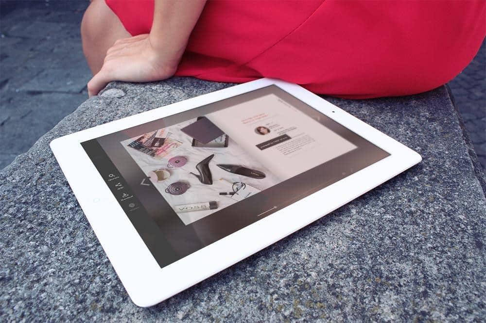 Online Katalog auf dem Tablet