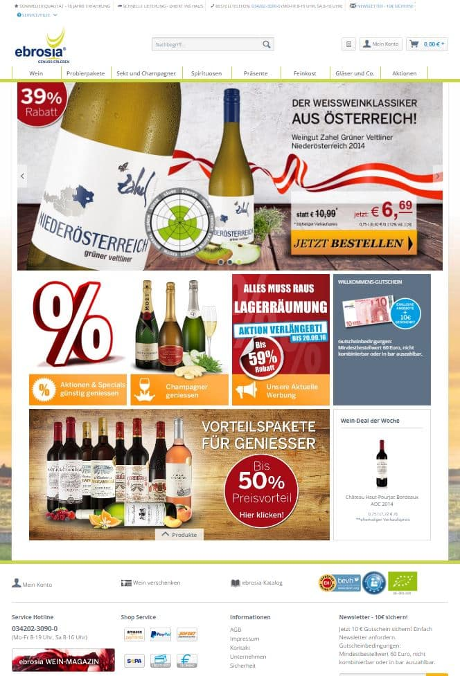 ebrosia Weinshop in neuem technischen Gewand und Design. 1