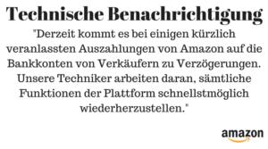 Amazon Auszahlung fehlgeschlagen