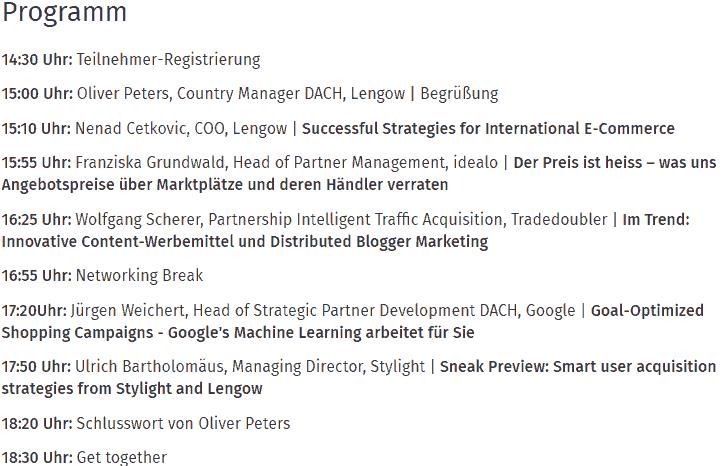 Das Programm auf der Lengow 2018 in München