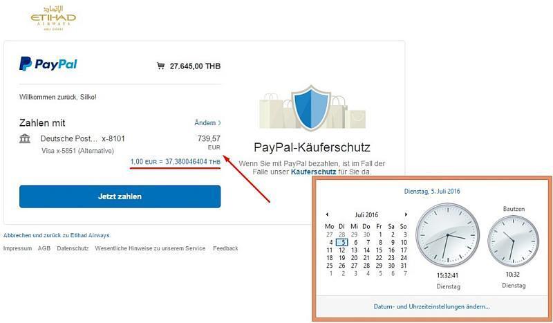 im Wechselkurs zusammengefassten Kosten bei PayPal