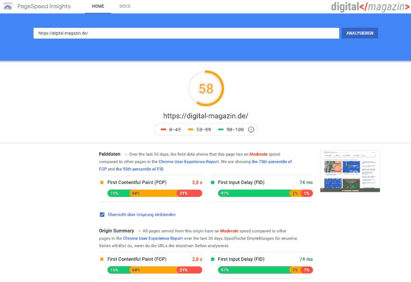 Magento Ladezeiten: mit PageSpeed Insights Tool