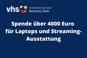 Spende über 4000 Euro für Laptops und Streaming-Ausstattung